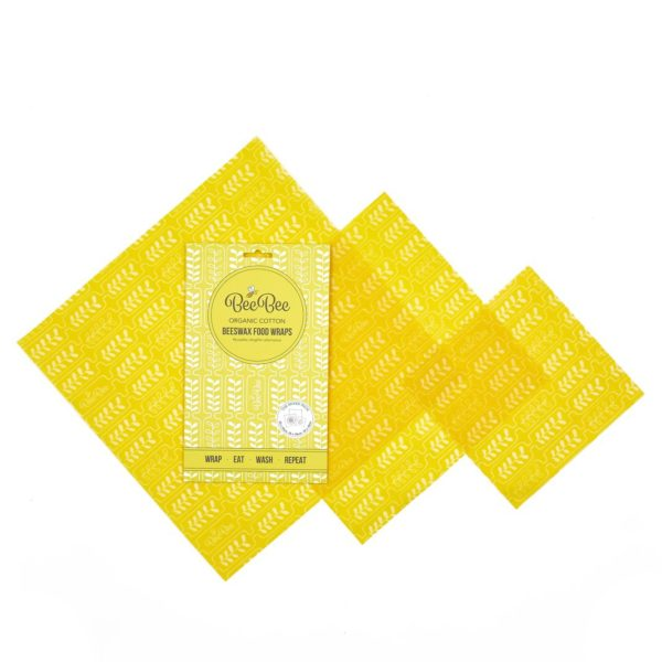 Yellow Wheat Design, Beeswax wrap mix pack, clingfilm alternative