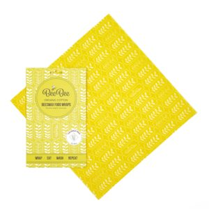 beeswax wrap clingfilm alternative yellow wheat design