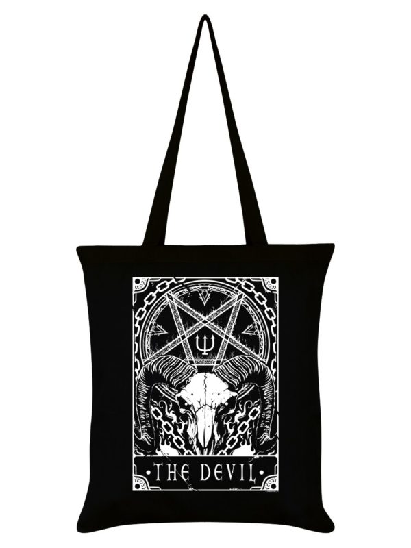 The Devil Tarot Card Tote Bag black cotton