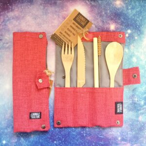Bamboo reusable travel cutlery set plastic-free