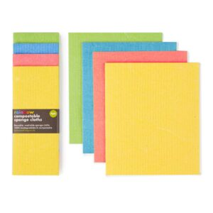 ecoLiving-rainbow-sponge-cloths-6pk-compostable eco sustainable living