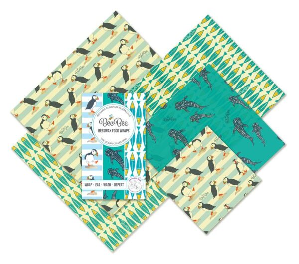 Ocean family mix pack beebee beeswax wraps alternative to clingfilm