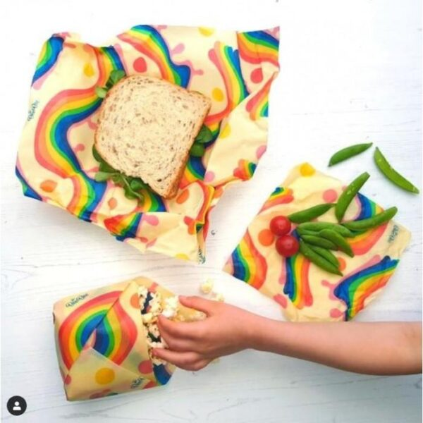 Beebee beeswax wrap rainbow design alternative to cling film plastic free