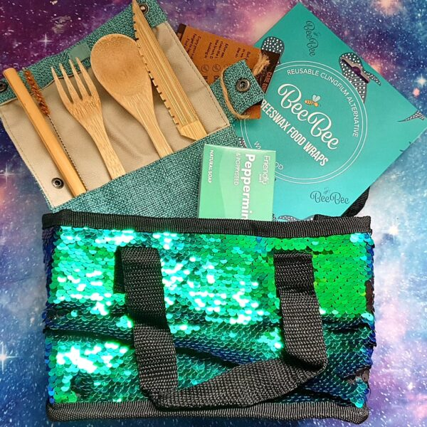 Packed Lunch Pro Kit eco lunch kit with sustainable bamboo cutlery beeswax wrap and natural vegan soap