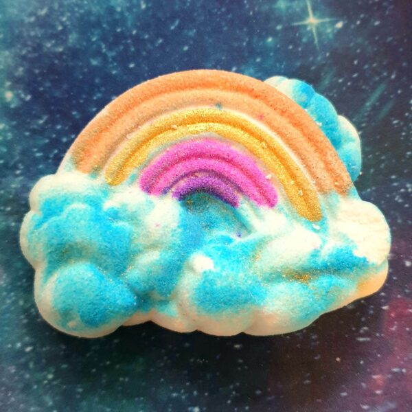 handmade rainbow bright skies bath bomb