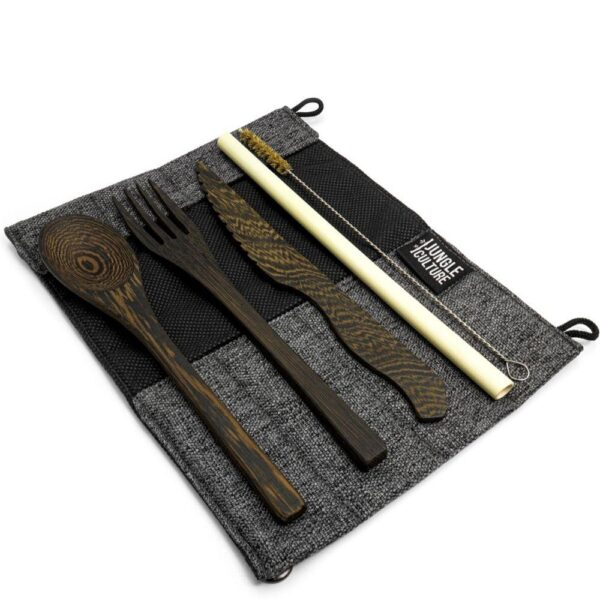Dark wood reusable cutlery set for eco sustainable living