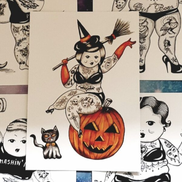 Halloween Curvy PinUp postcard by Kate Lomax