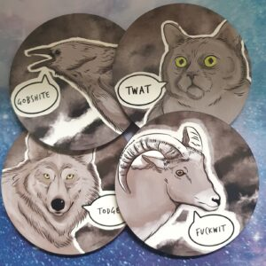 Cute Offensive Animal Coaster Set Sustainable Gift Ideals