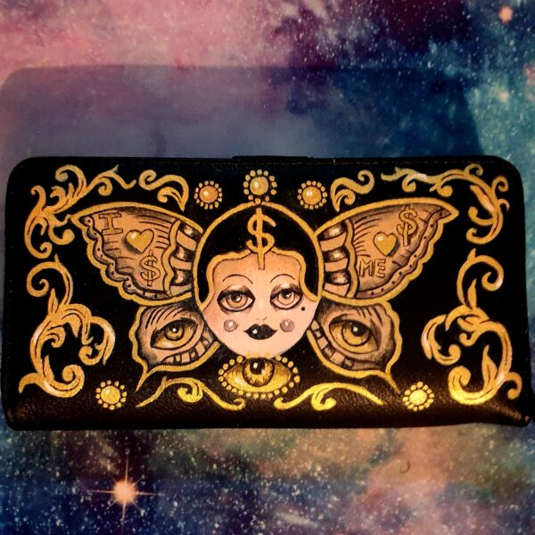 upcycled hand painted art piece wallet by Kate Lomax Art