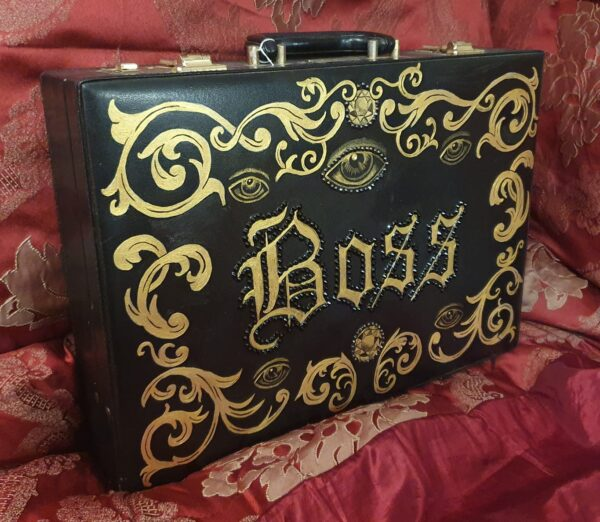 upcycled hand painted art piece Briefcase by Kate Lomax Art